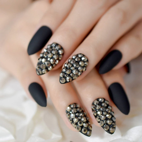 Embellished Matte Black Stiletto Nails