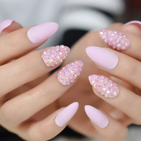 Embellished Matte Pink Stiletto Nails