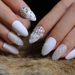 Embellished Matte White Stiletto Nails