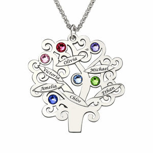 Custom Family Tree Birthstone Necklace