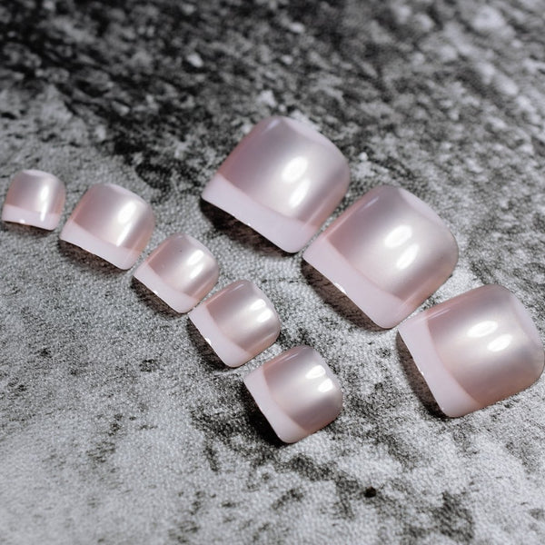 Frosted Pink Pearl French Toenails