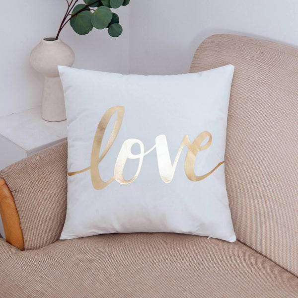 Gold Love Decorative Cushion Cover