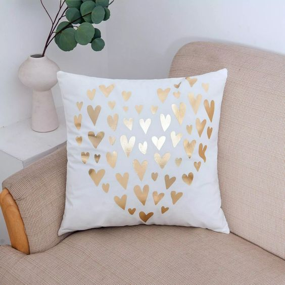 Gold Heart Pattern Decorative Cushion Cover
