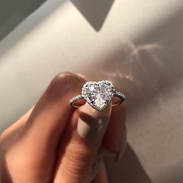 Heart Shaped Halo Accented Ring