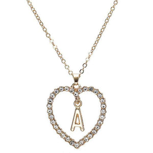 Heart Shaped Initial Necklace