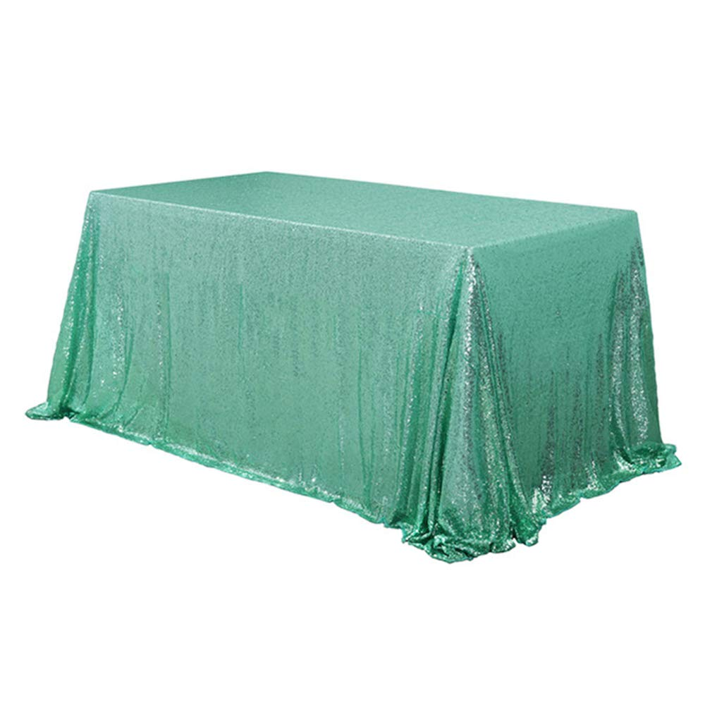 Mint Green Sequin Rectangular Tablecloth
