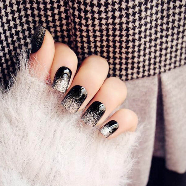Silver Glitter Tipped Black Press On Nails