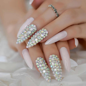 French Ombre Rhinestone Stiletto Nails