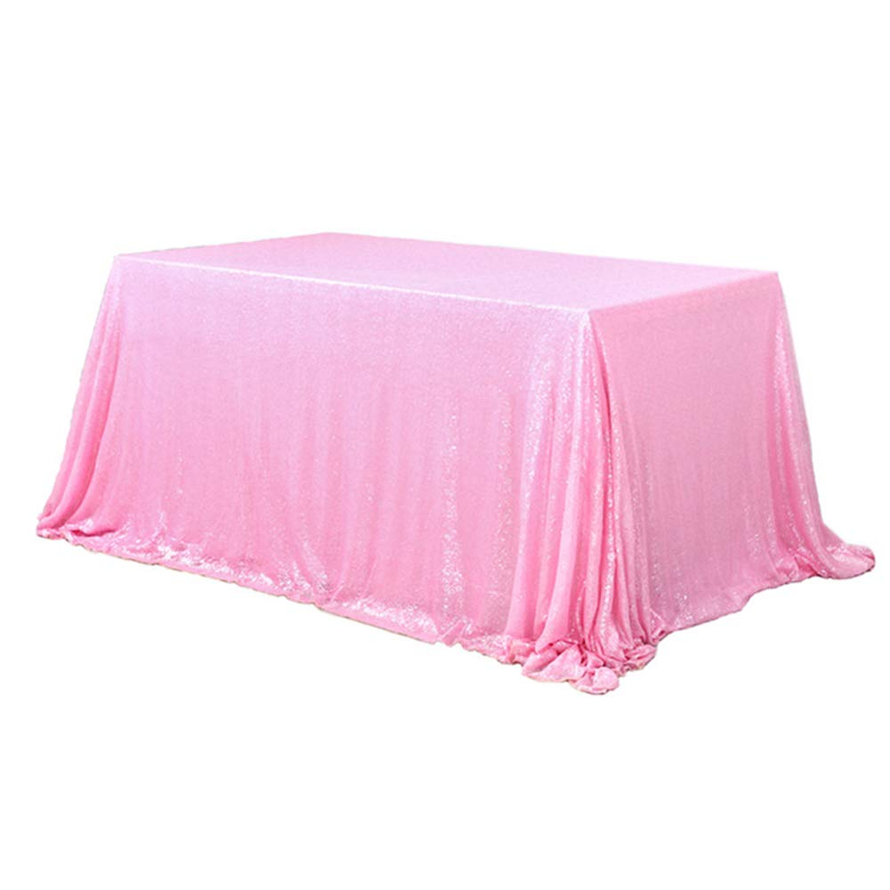 Light Pink Sequin Rectangular Tablecloth