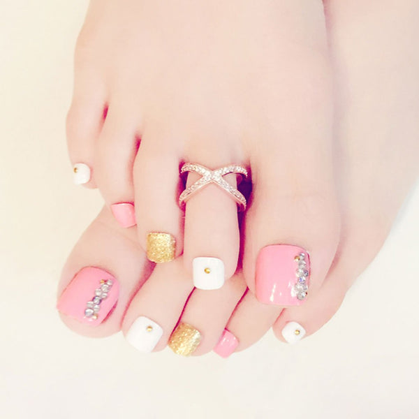 Pink, Gold & White Press On Toenails
