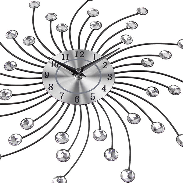 Crystal Embellished Metal Starburst Wall Clock
