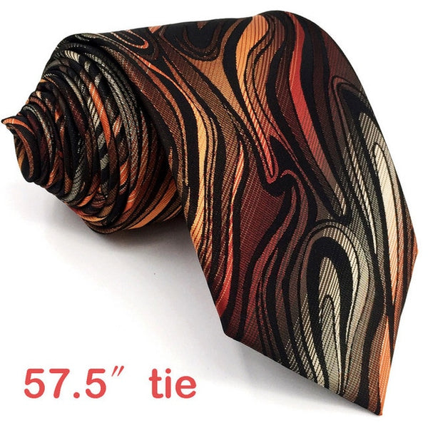Orange Ripple Pattern Tie and Matching Pocket Square - Fancier Living