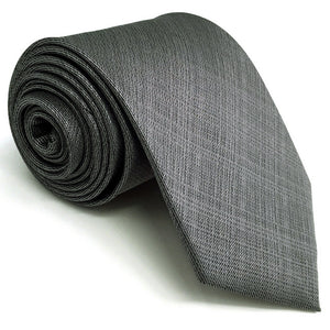 Textured Gray Silk Necktie and Matching Pocket Square - Fancier Living