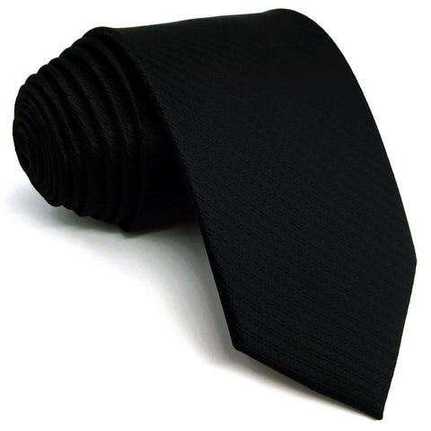 Solid Black Silk Necktie and Matching Pocket Square - Fancier Living