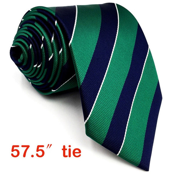 Navy and Green Striped Tie and Matching Pocket Square - Fancier Living