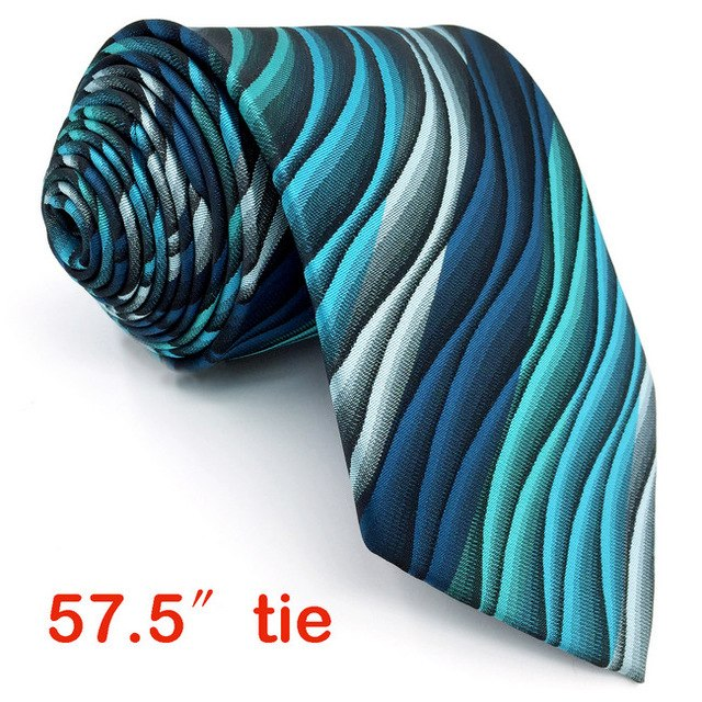 Turquoise Waves Necktie and Matching Pocket Square - Fancier Living