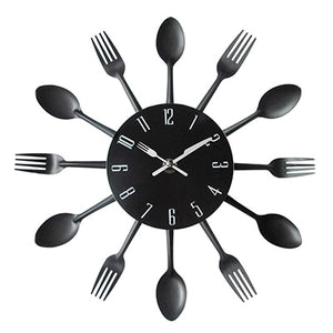 Quirky Black Kitchen Utensil Wall Clock - Fancier Living
