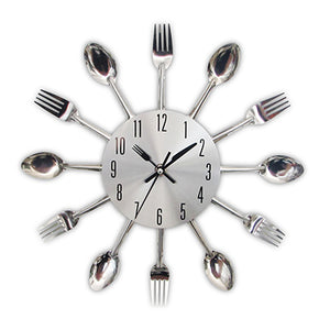 Quirky Silver Kitchen Utensil Wall Clock - Fancier Living