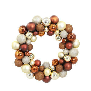 Glitzy Brown Metallic Ball Ornament Wreath - Fancier Living