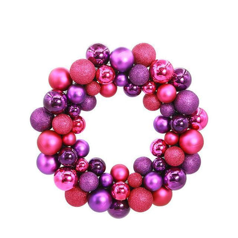 Purple & Pink Metallic Ball Ornament Wreath - Fancier Living