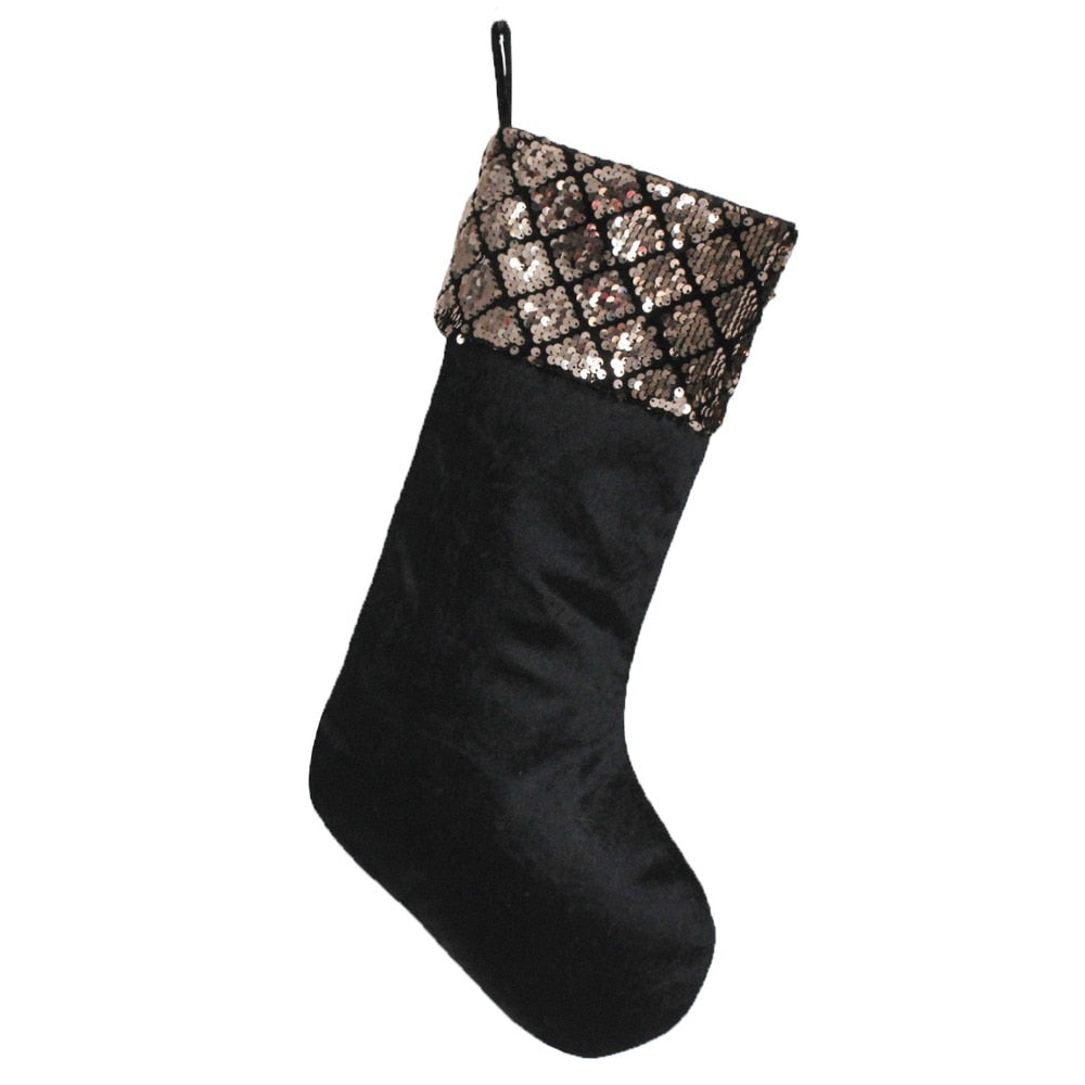 Black Velvet Sequin Trim Christmas Stocking - Fancier Living