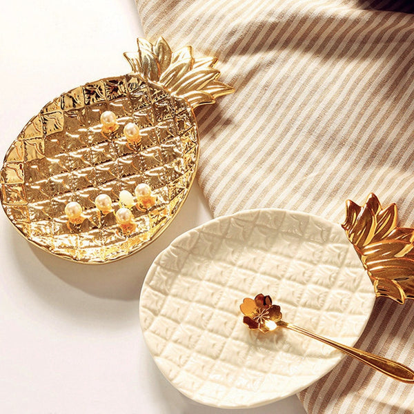 Gold Pineapple Ceramic Storage Tray - Fancier Living