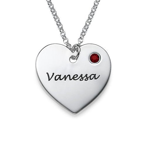 Custom Name Personalized Birthstone Heart Necklace - Fancier Living