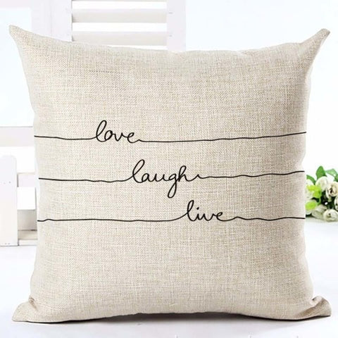 """Love Laugh Live"" Cushion Cover - Fancier Living"
