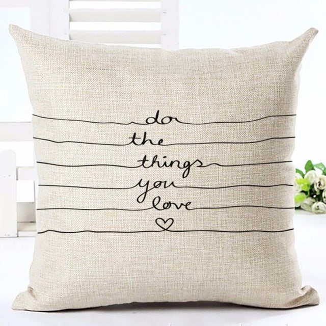 """Do The Things You Love"" Cushion Cover - Fancier Living"