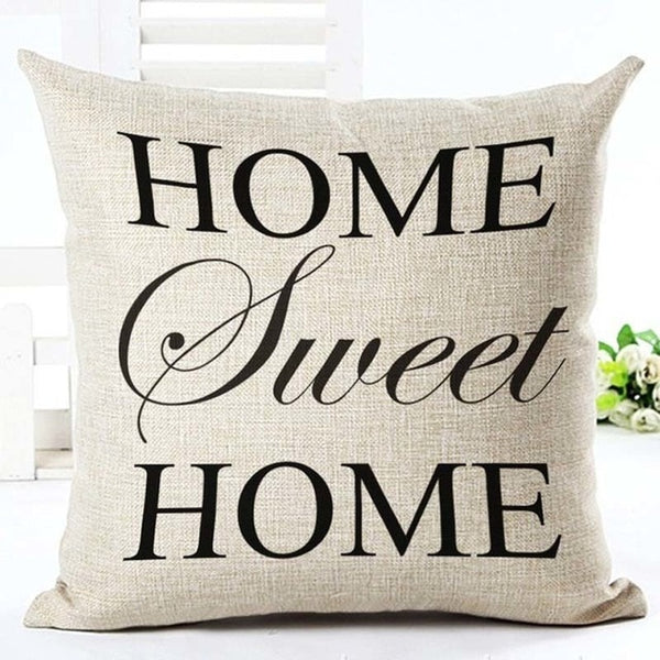 "Beige ""Home Sweet Home"" Rustic Cushion Cover - Fancier Living"