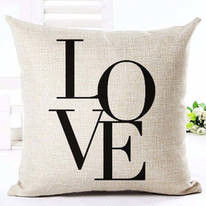 "Beige ""Love"" Rustic Cushion Cover - Fancier Living"