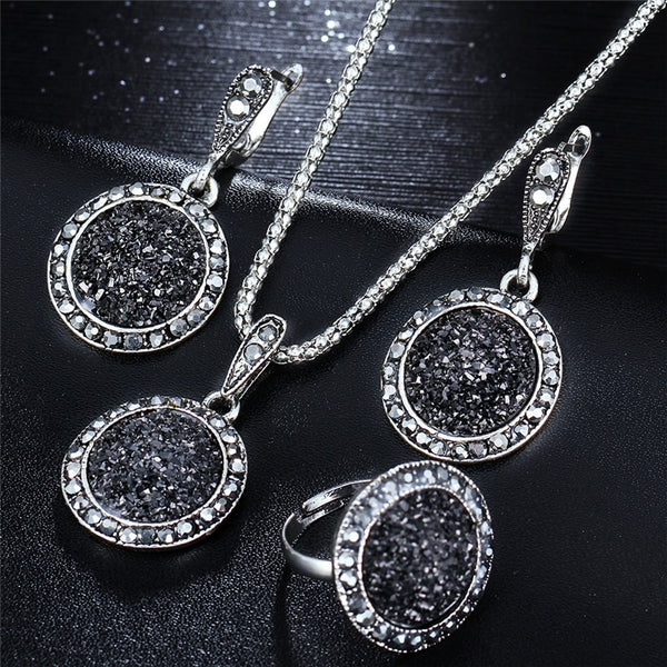 Glittering Round Black Jewelry Set - Fancier Living