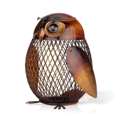 Metal Owl Piggy Bank Sculpture - Fancier Living