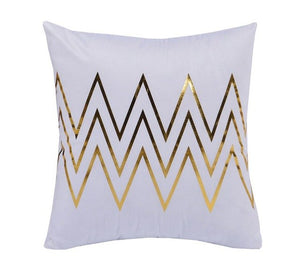 Gold Zigzags Decorative Cushion Cover - Fancier Living