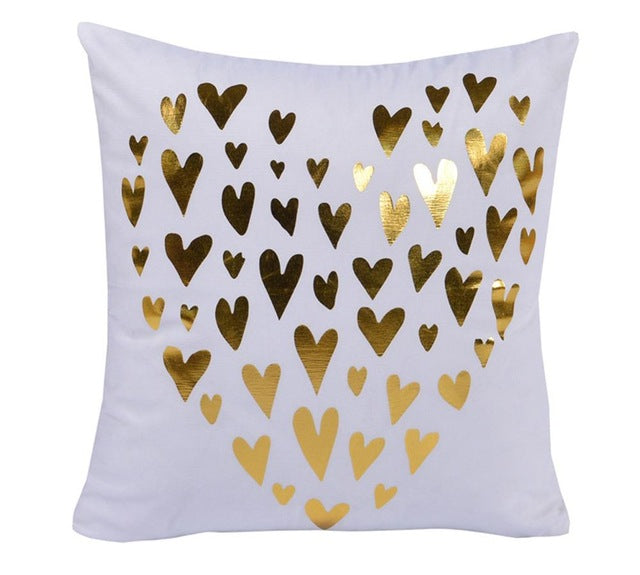 Gold Heart Pattern Decorative Cushion Cover - Fancier Living