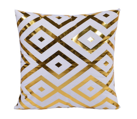Gold Geometric Decorative Cushion Cover - Fancier Living