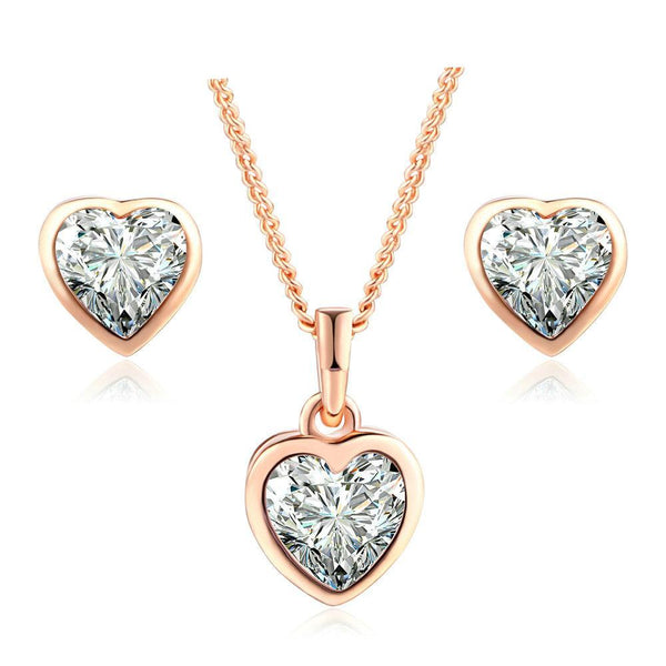 Timeless Crystal Rose Gold Heart Jewelry Set - Fancier Living