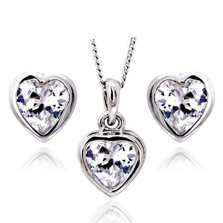 Timeless Crystal Silver Heart Jewelry Set - Fancier Living