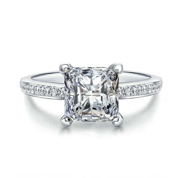 Princess Cut Solitaire Ring with Accent Stones - Fancier Living