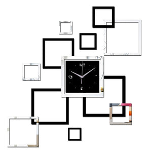 Square Design Mirrored Wall Clock - Fancier Living