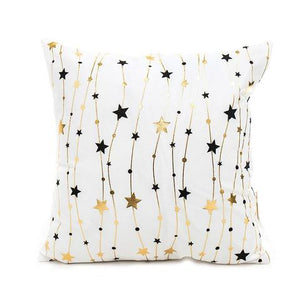 Gold and Black Stars Cushion Cover - Fancier Living