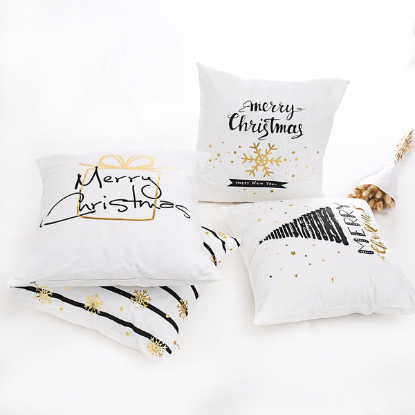 "Black and Gold ""Merry Christmas"" Cushion Cover - Fancier Living"