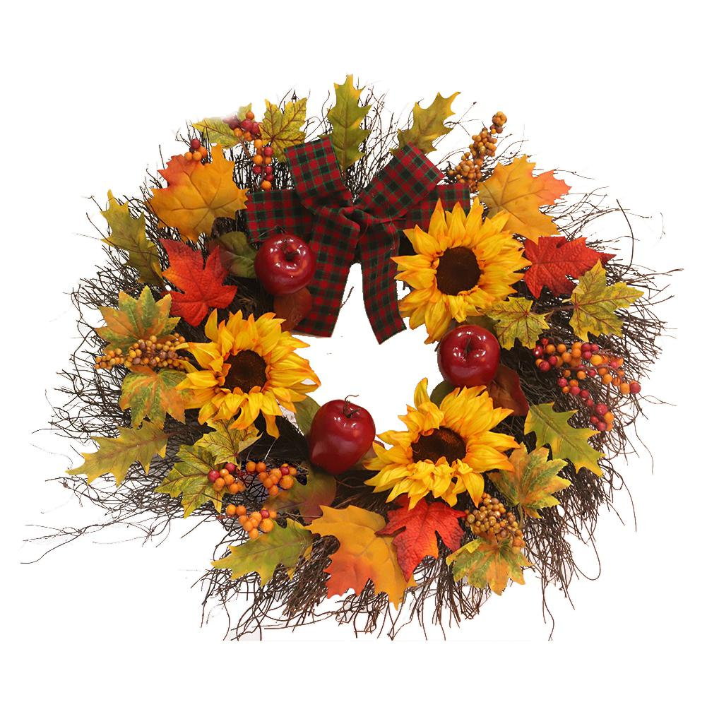 Autumn Sunflower Wreath With Bow