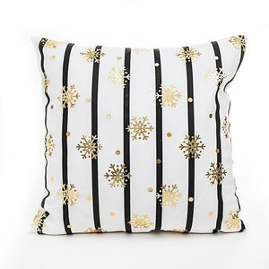 Striped Gold Snowflake Cushion Cover - Fancier Living