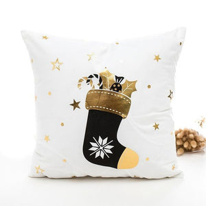 Copy of Black and Gold Antler Christmas Cushion Cover - Fancier Living