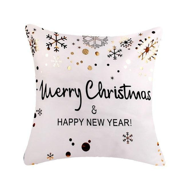 Black and Gold Antler Christmas Cushion Cover - Fancier Living