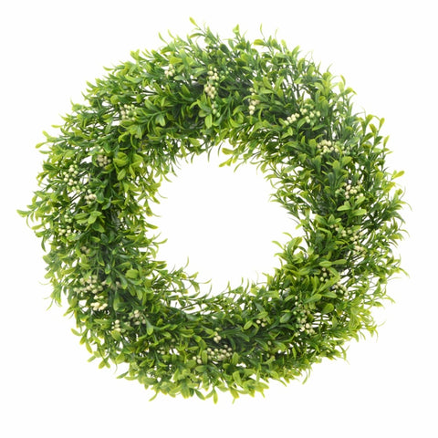 Fresh Green Foliage And Berry Wreath