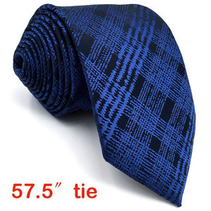 Black and Blue Plaid Tie and Matching Pocket Square - Fancier Living