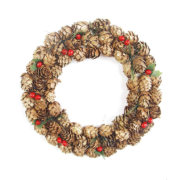 Rustic Pine Cone and Red Berry Wreath - Fancier Living