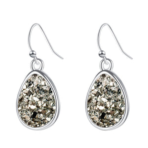 Sparkling Silver Druzy Stone Fashion Earrings